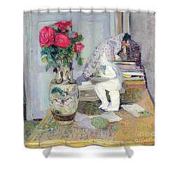 Statuette By Maillol And Red Roses Shower Curtain by Edouard Vuillard