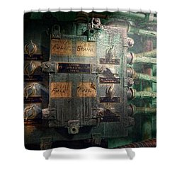 Steampunk - Naval - Electric - Lighting Control Panel Shower Curtain by Mike Savad
