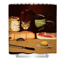 Still Life With Cat And Mouse Shower Curtain by Anonymous