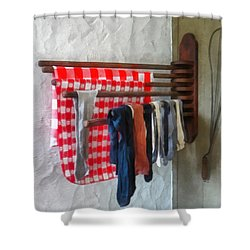 Stockings Hanging To Dry Shower Curtain by Susan Savad