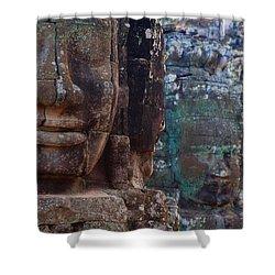 Stone Heads At Bayon Temple Shower Curtain by Carson Ganci