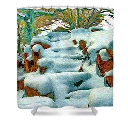 Stone Steps In Winter Shower Curtain by Jeff Kolker