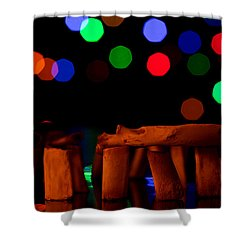 Stonehenge In Starry Night Shower Curtain by Paul Ge