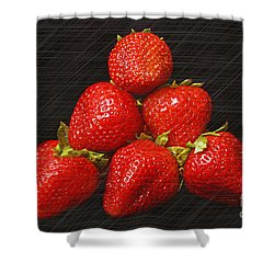 Strawberry Pyramid On Black Shower Curtain by Andee Design