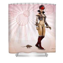 Striped Girl With Striped Pet Shower Curtain by Jutta Maria Pusl