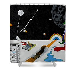 Stuck In Time And Space Shower Curtain by One Rude Dawg Orcutt