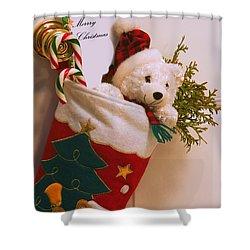 Stuffed Christmas Stocking Shower Curtain by Carson Ganci
