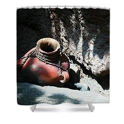 Sun Dappled Pottery Shower Curtain by Jeff Swan