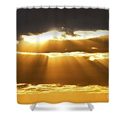 Sun Rays At Sunset Sky Shower Curtain by Elena Elisseeva