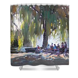 Sunday Afternoon By The Fontain Shower Curtain by Ylli Haruni