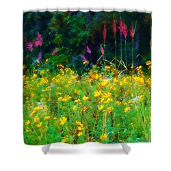Sunflowers And Grasses Shower Curtain by Judi Bagwell