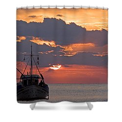Sunrise In Crete Shower Curtain by Max Waugh