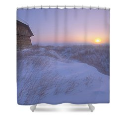 Sunrise On Abandoned, Snow-covered Shower Curtain by Dan Jurak
