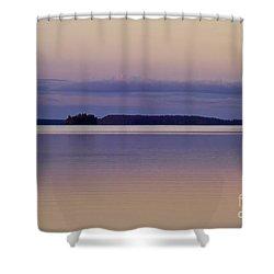Sunset At Lake Muojaervi Shower Curtain by Heiko Koehrer-Wagner