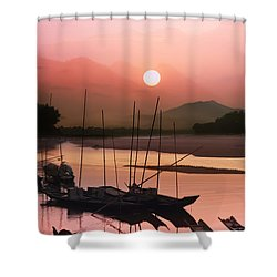sunset at Mae Khong river Shower Curtain by Setsiri Silapasuwanchai