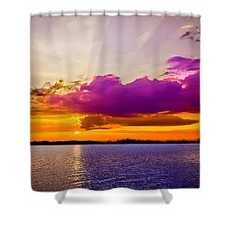 Sunset Shower Curtain by Bob and Nadine Johnston