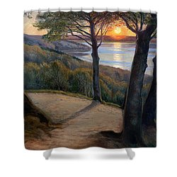 Sunset Shower Curtain by Hans Agersnap