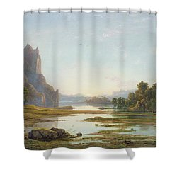 Sunset Over A River Landscape Shower Curtain by Francis Danby