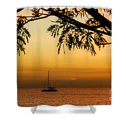 Sunset Sail Shower Curtain by Rene Triay Photography