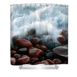 Superior On The Rocks Shower Curtain by Bill Morgenstern