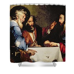 Supper At Emmaus Shower Curtain by Bernardo Strozzi