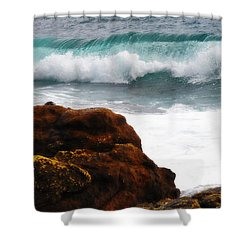 Surf Breaking Near Coast Shower Curtain by Phill Petrovic