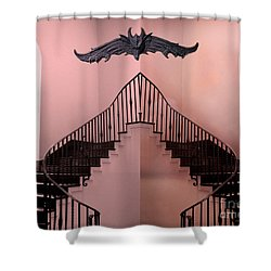 Surreal Fantasy Gothic Gargoyle Over Staircase Shower Curtain by Kathy Fornal