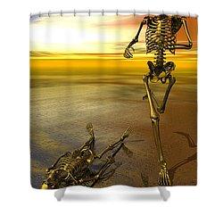 Surreal Skeleton Jogging Past Prone Skeleton With Sunset Shower Curtain by Nicholas Burningham