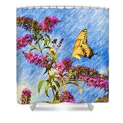 Swallowtail And Butterfly Bush Shower Curtain by Heidi Smith