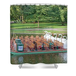 Swan Boat In Boston Public Garden Shower Curtain by Clarence Holmes