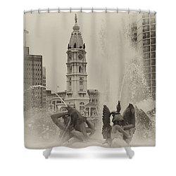 Swann Memorial Fountain In Sepia Shower Curtain by Bill Cannon