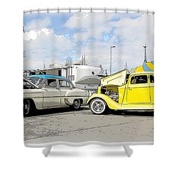Swap Meet Plymouth And Chevy  Shower Curtain by Steve McKinzie