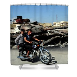Syrian Men Drive A Motorbike Shower Curtain by Andrew Chittock