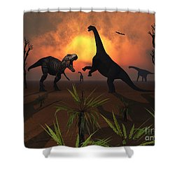 T. Rex Confronts A Group Shower Curtain by Mark Stevenson