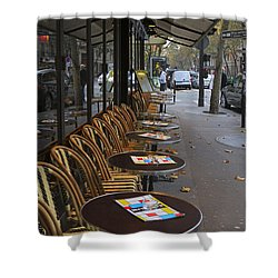 Tables Outside A Paris Bistro On An Autumn Day Shower Curtain by Louise Heusinkveld