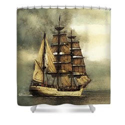 Tall Ship Shower Curtain by Marcin and Dawid Witukiewicz
