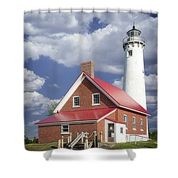 Tawas Point Lighthouse In Michigan Number 0007 Shower Curtain by Randall Nyhof
