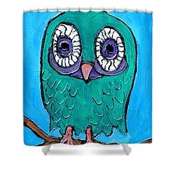 Teal Hooter 1 Shower Curtain by Wayne Potrafka