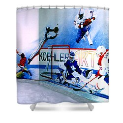 Team Sports Mural Shower Curtain by Hanne Lore Koehler