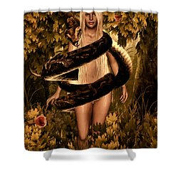 Temptation And Fall Shower Curtain by Lourry Legarde