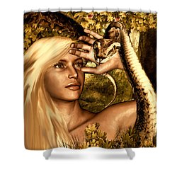 Temptation Shower Curtain by Lourry Legarde