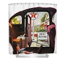 Texaco Advertisement, 1938 Shower Curtain by Granger