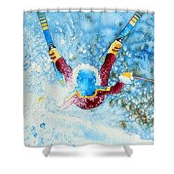 The Aerial Skier - 14 Shower Curtain by Hanne Lore Koehler