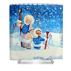 The Aerial Skier - 4 Shower Curtain by Hanne Lore Koehler