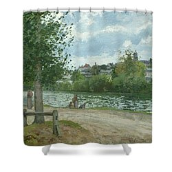 The Banks Of The Oise At Pontoise Shower Curtain by Camille Pissarro