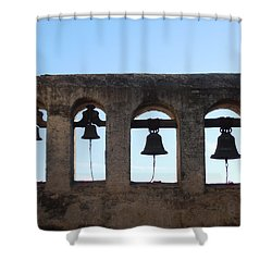 The Bells At The San Juan Capistrano Mission Shower Curtain by Pat Cannon