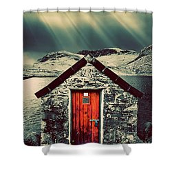 The Boathouse Shower Curtain by Meirion Matthias
