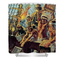 The Boston Tea Party Shower Curtain by Luis Arcas Brauner
