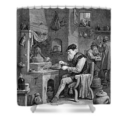 The Chemist, 17th Century Shower Curtain by Science Source
