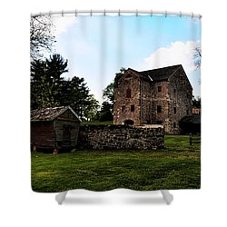 The Chicken Coop And The Barn Shower Curtain by Bill Cannon
